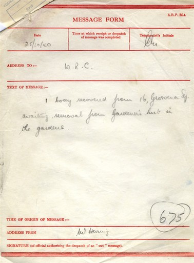 Photo:ARP Message Form, 15 Grosvenor Square, 25 October 1940